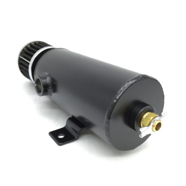 Aluminum Breather Catch Tank With Two 1/2 NPT Black - Direct Automotive
